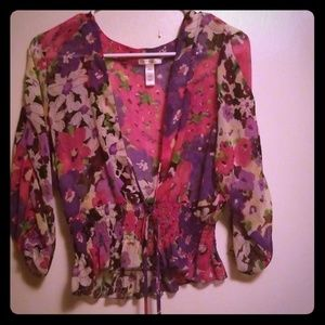 Ambiance Apparel Floral Cover Up Size L